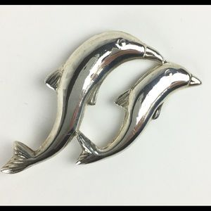 Mom & Baby Dolphin Sterling Silver Broach Pin